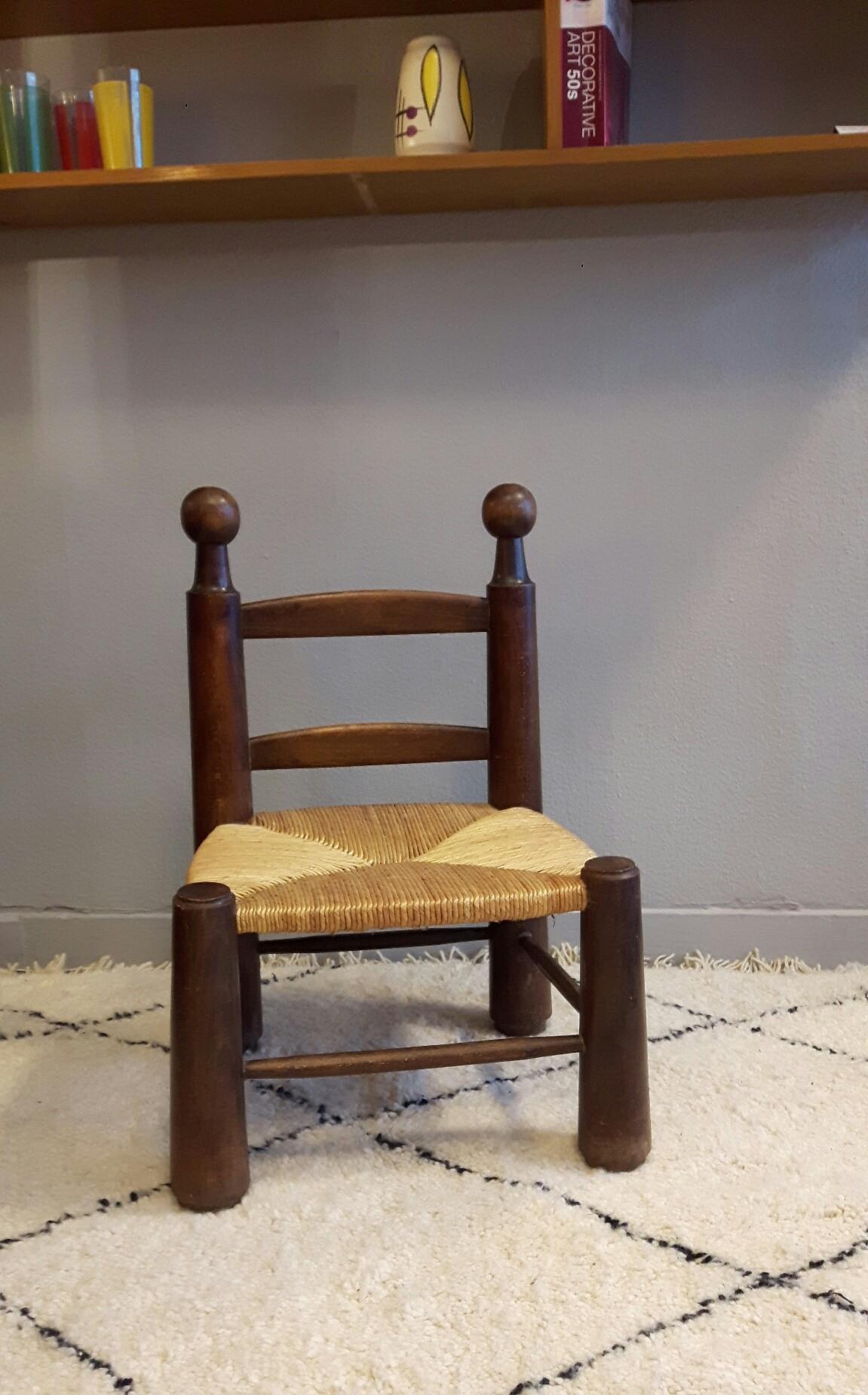 Chaise basse en paille vintage - 1950