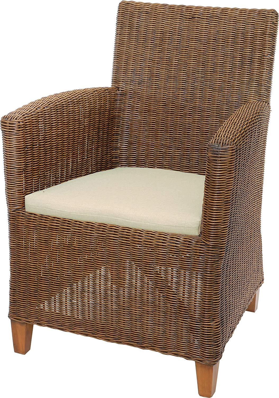 korb.outlet Fauteuil Lounge en rotin véritable/Fauteuil tressé Confortable - Couleur : Marron Vintage