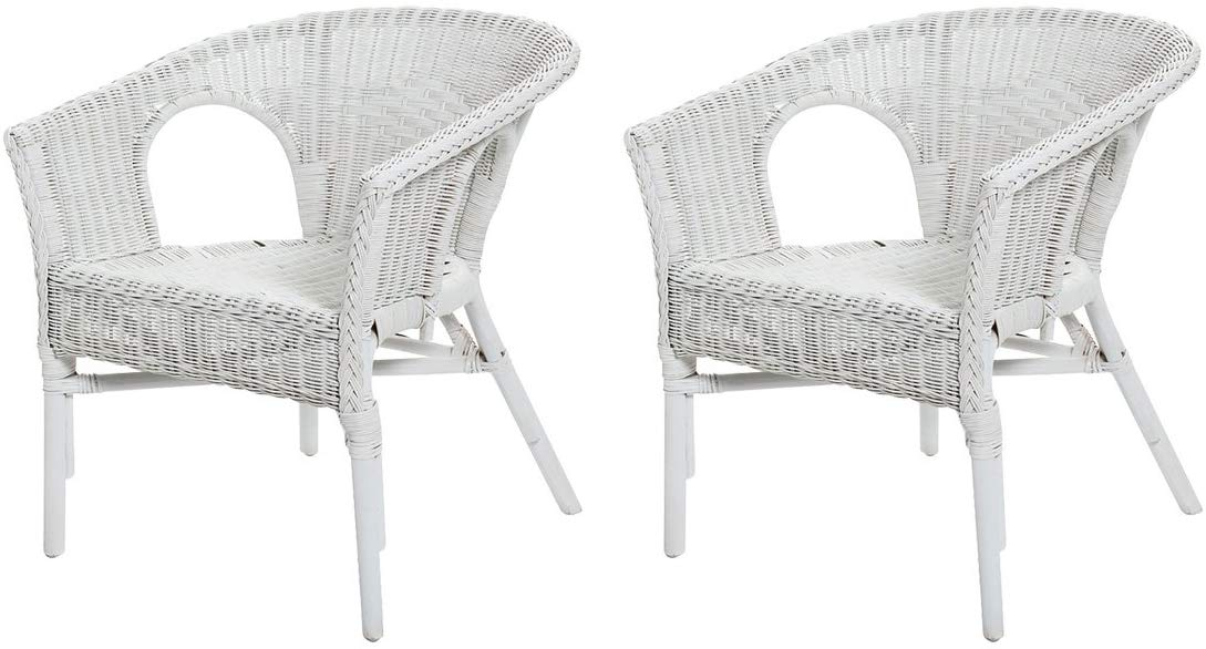Rotin Design Lot de 2 fauteuils Chris Blanc en Osier